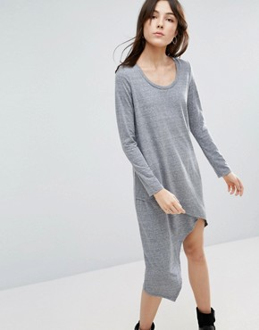 photo Asymmetrical Long Sleeve Dress by NYTT, color Heather Grey - Image 1