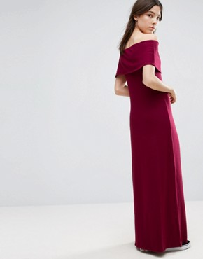 photo Off The Shoulder Maxi Dress by NYTT, color Burgundy - Image 2