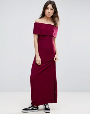 photo Off The Shoulder Maxi Dress by NYTT, color Burgundy - Image 1