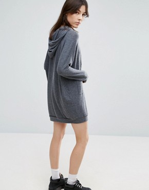 photo Long Sleeve Hoodie Dress by NYTT, color Grey - Image 2