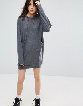 photo Long Sleeve Hoodie Dress by NYTT, color Grey - Image 1