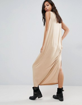 photo Low Side Drapey Maxi Dress by NYTT, color Nude - Image 2