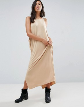 photo Low Side Drapey Maxi Dress by NYTT, color Nude - Image 1