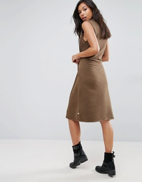 photo Sleeveless Dress With Faux Sleeve Tie by NYTT, color Khaki - Image 2