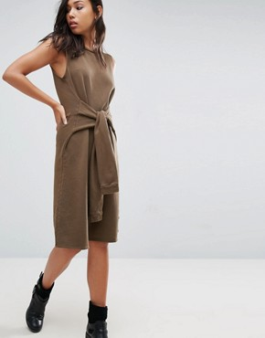 photo Sleeveless Dress with Faux Sleeve Tie by NYTT, color Khaki - Image 1