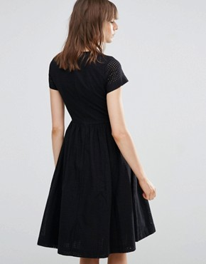 photo Perforated Sleeve Skater Dress by YMC, color Black - Image 2