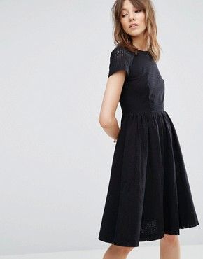 photo Perforated Sleeve Skater Dress by YMC, color Black - Image 1