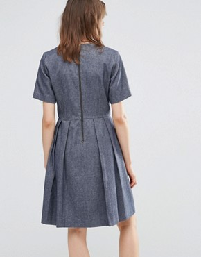 photo Wool Pleated Skater Dress by YMC, color Navy - Image 2