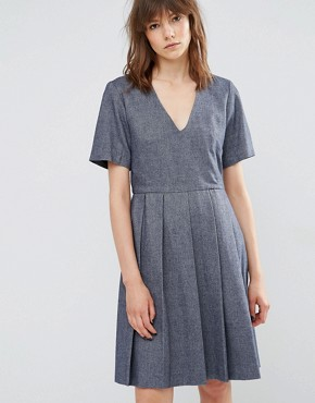 photo Wool Pleated Skater Dress by YMC, color Navy - Image 1