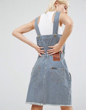 photo Pinstripe Dungaree Dress by House of Holland, color Blue Stripe - Image 2