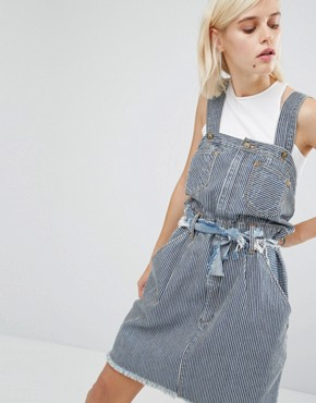 photo Pinstripe Dungaree Dress by House of Holland, color Blue Stripe - Image 1