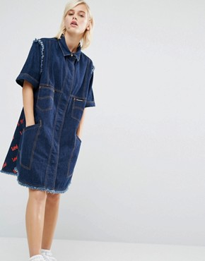 photo Denim Shirt Dress with All Over Back Logo by House of Holland, color Blue - Image 2