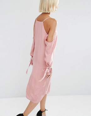 photo 100% Silk Cami Dress with Sleeve Detail by ASOS WHITE, color Pink - Image 2