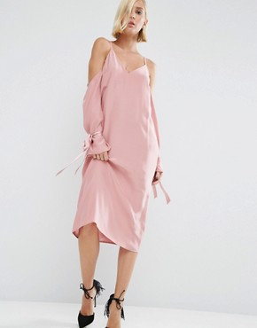 photo 100% Silk Cami Dress with Sleeve Detail by ASOS WHITE, color Pink - Image 1