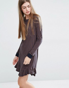 photo Jasmin Jersey Dress with Frill Hem in Geo Print by Baum Und Pferdgarten, color  - Image 1