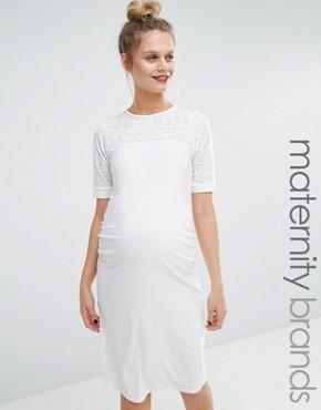 photo Mesh Insert Bodycon Dress by Bluebelle Maternity, color Cream - Image 1