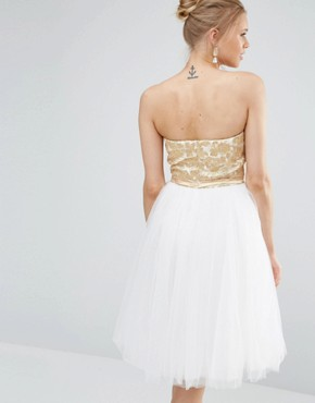 photo Tulle Prom Midi Dress with Metallic Foil by Chi Chi London, color Cream/Gold - Image 2
