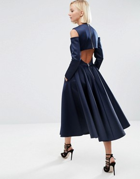 photo Bonded Satin Midi Dress With Cold Shoulder by ASOS WHITE, color Navy - Image 2