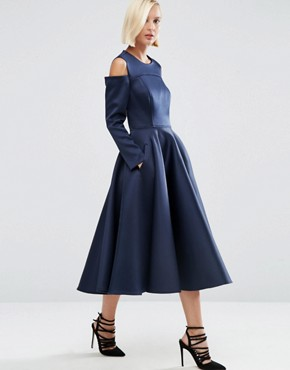 photo Bonded Satin Midi Dress With Cold Shoulder by ASOS WHITE, color Navy - Image 1
