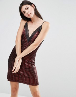 photo Chainmail Metallic Slip Mini Dress by House of Holland, color Red - Image 1
