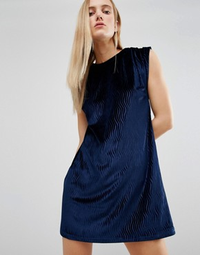 photo Velvet Tuck Dress by House of Holland, color Navy - Image 1