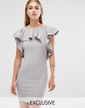 photo Ruffle Detail Mini Dress by Missguided, color Grey - Image 1