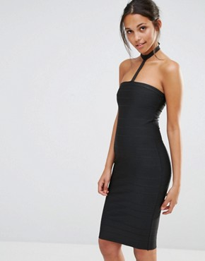 photo Harness Choker Bodycon Dress by Missguided, color Black - Image 1