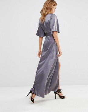 photo Wrap Dress by Millie Mackintosh, color Silver - Image 2