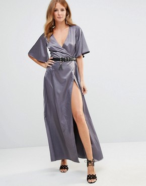 photo Wrap Dress by Millie Mackintosh, color Silver - Image 1