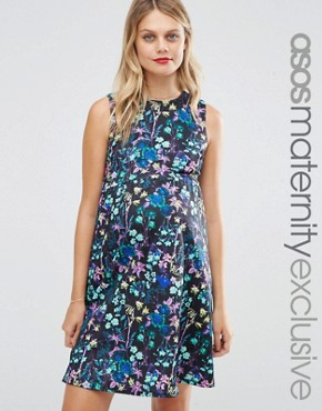 photo Scuba Skater Dress in Digital Floral by ASOS Maternity, color  - Image 1
