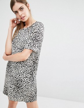 photo Caleb Leopard Print Open Back Dress by Suncoo, color Brown - Image 2