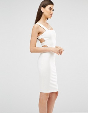photo Harness Strap Detail Bodycon Midi Dress by Lavish Alice, color White - Image 2