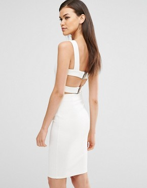 photo Harness Strap Detail Bodycon Midi Dress by Lavish Alice, color White - Image 1