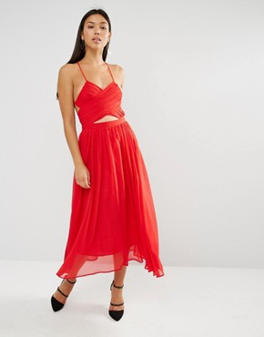 photo Wrap Lace Up Floaty Midi Dress by Lavish Alice, color Red - Image 1