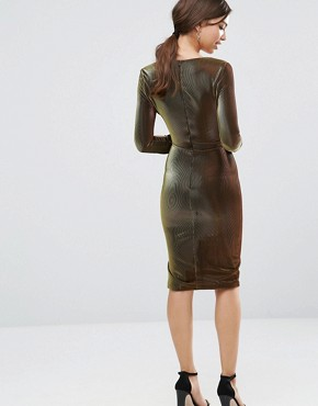 photo Metallic Deep Plunge Side Split Midi Dress by Lavish Alice, color Black - Image 2