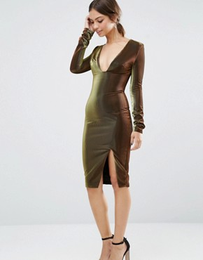 photo Metallic Deep Plunge Side Split Midi Dress by Lavish Alice, color Black - Image 1