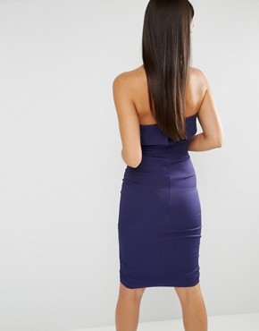photo Bandeau Centre Split Bodycon Midi Dress by Lavish Alice, color Navy - Image 2