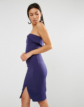photo Bandeau Centre Split Bodycon Midi Dress by Lavish Alice, color Navy - Image 1