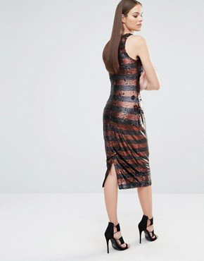 photo Muted Sequin Stripe High Neck Column Midi Dress by Lavish Alice, color Black - Image 2