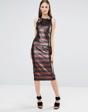 photo Muted Sequin Stripe High Neck Column Midi Dress by Lavish Alice, color Black - Image 1