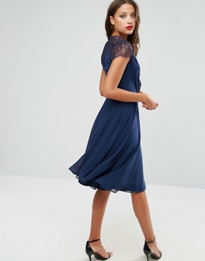 photo Midi Dress by ASOS TALL Kate Lace, color Navy - Image 2