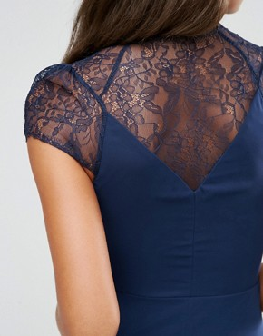 photo Midi Dress by ASOS TALL Kate Lace, color Navy - Image 3