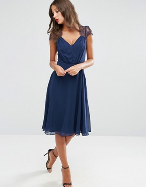 photo Midi Dress by ASOS TALL Kate Lace, color Navy - Image 4