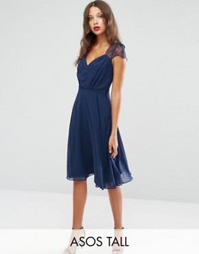 photo Midi Dress by ASOS TALL Kate Lace, color Navy - Image 1
