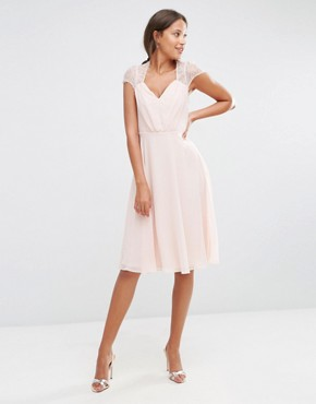 photo Midi Dress by ASOS TALL Kate Lace, color Nude - Image 4