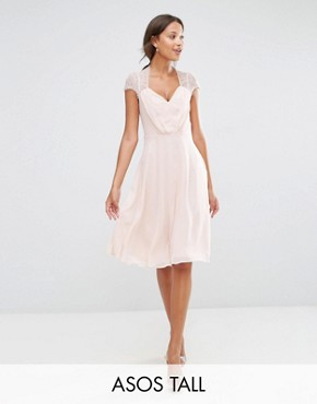 photo Midi Dress by ASOS TALL Kate Lace, color Nude - Image 1
