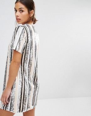 photo Sequin Stripe Mini Dress by Missguided Petite, color  - Image 2