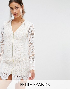 photo Zip Front Plunge Lace Mini Dress by Missguided Petite, color White - Image 1