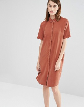 photo Vilo Short Sleeved Shirt Dress by Selected, color Brown - Image 1