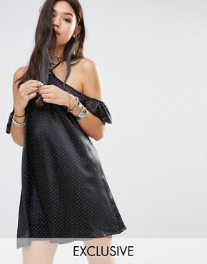 photo Vintage Shift Dress with Cold Shoulder Tie Neck Detail In Mini Spot by Milk It, color Black - Image 1